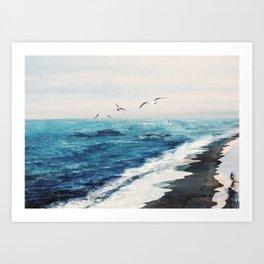Watercolor Coast Art Print