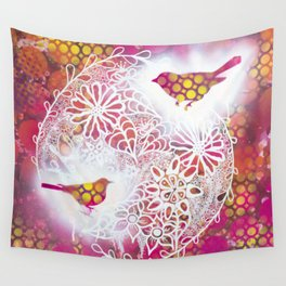 Round Twin Birds Wall Tapestry