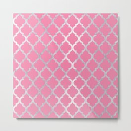 Moroccan Silver & Pink III Metal Print