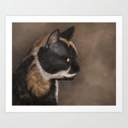 Calico Cat Painting Portrait Art Print