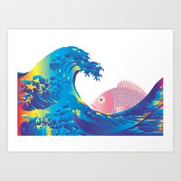hokusai Art Prints featuring Hokusai Rainbow & Jpanese Snapper  by FACTORIE