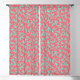 Teal and pink leaves Blackout Curtain
