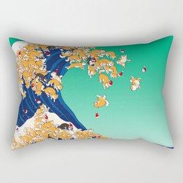 Christmas Shiba Inu The Great Wave Rectangular Pillow