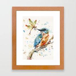 Interesting Relationships (Kingfisher & Dragonfly) Framed Art Print