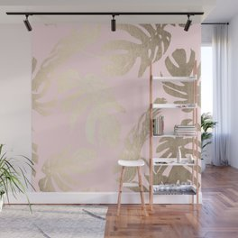 Simply Tropical Palm Leaves White Gold Sands on Flamingo Pink Wall Mural