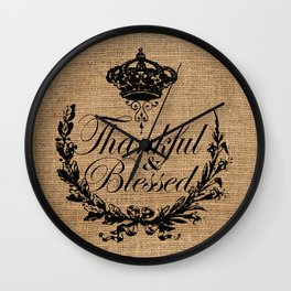 french country jubilee crown thanksgiving fall wreath beige burlap thankful and blessed Wall Clock