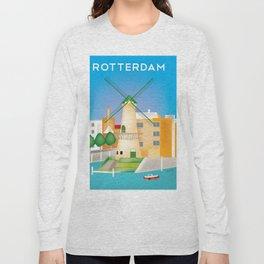 Rotterdam, Holland - Skyline Illustration by Loose Petals Long Sleeve T-shirt