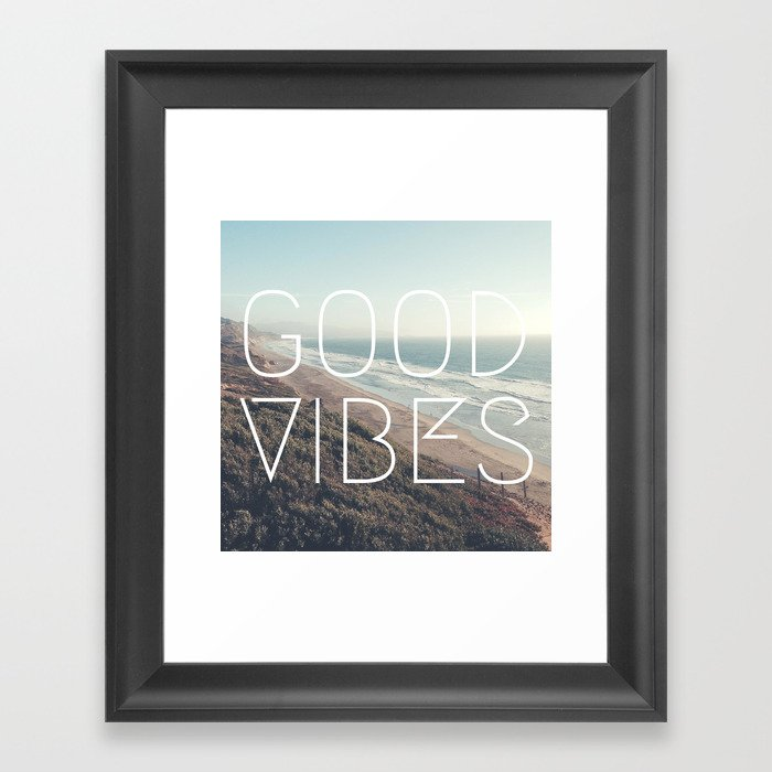 Good Vibes Cool Beach Tumblr Hipster Print Framed Art Print By Worstkidsister