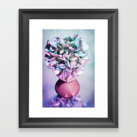 NOSTALGIA - Still life with vase and hydrangea flowers Framed Art Print