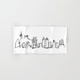 Barcelona Skyline in one draw Hand & Bath Towel