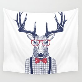 MR DEER WITH GLASSES Wall Tapestry