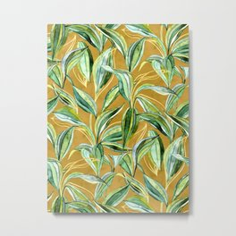 Leaves + Lines in Gold, Tan and Green Metal Print