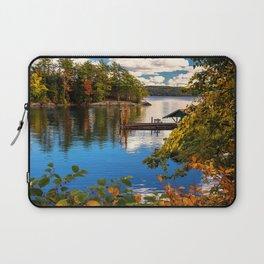 Picture New York City USA Lake George Autumn Nature Berth Trees Pier Marinas Laptop Sleeve