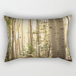 Light Among the Aspens x Rustic Mountain Art Rectangular Pillow