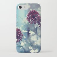 iPhone Cases featuring Flowers on Blue by Paula Belle Flores