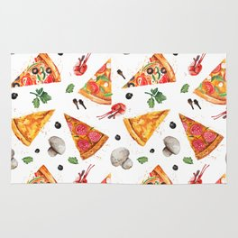 Pizza Pattern, Food Pattern, Watercolor Pizza Rug