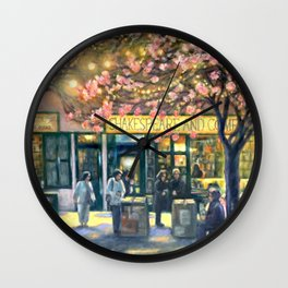 Shakespeare and Company night life painting by Bonnie Parkinson Wall Clock