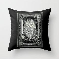 JUSTICE of Tarot Cat Throw Pillow
