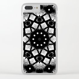 Black White Mosaic Kaleidoscope Mandala Clear iPhone Case