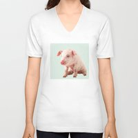 pig V-neck T-shirts featuring Pig by Dora Birgis