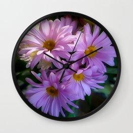 Purple Shasta Daisy Wall Clock