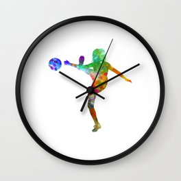 Woman soccer player 17 in watercolor Wall Clock