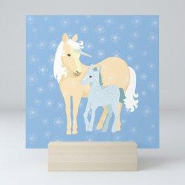 Unicorns. Mom and baby Mini Art Print