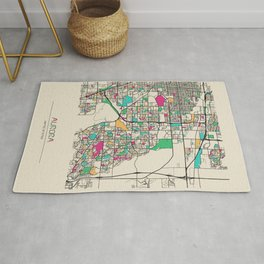 Colorful City Maps: Aurora, Colorado Rug