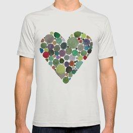 Green dots heart T-shirt