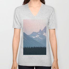 Pink Cascades - Mountain Nature Landscape Photography Unisex V-Neck