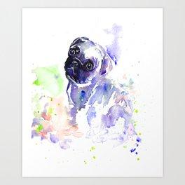 Purple Pug Puppy Art Print