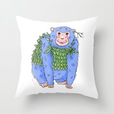 Peachtree The Chimp in Blue Throw Pillow