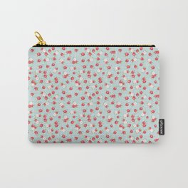 English Rose Pattern on Blue Carry-All Pouch