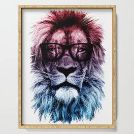 Hipster Lion Gradient art Serving Tray