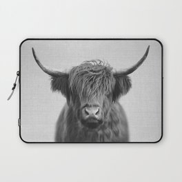 Highland Cow - Black & White Laptop Sleeve