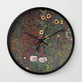 Gustav Klimt - Country Garden With Sunflowers Wall Clock
