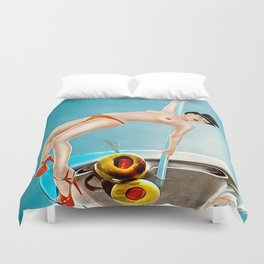 Girl in Cocktail Duvet Cover