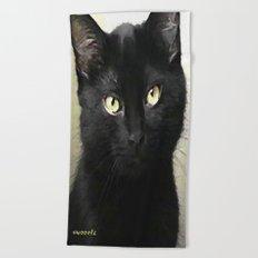 Swoozle's Black Cat in Repose Beach Towel