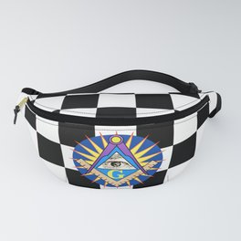 Masonic Square & Compass On Blue Disc Fanny Pack