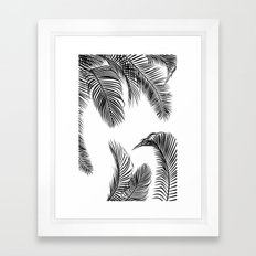 Black palm tree leaves pattern Framed Art Print
