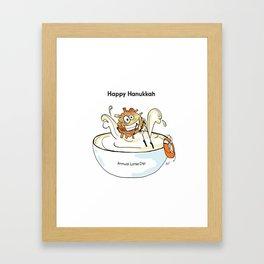 Happy Hanukkah Latke Framed Art Print
