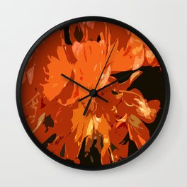 Orange Bush Lily Wall Clock
