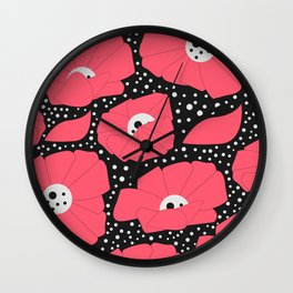 Poppies and dots Wall Clock