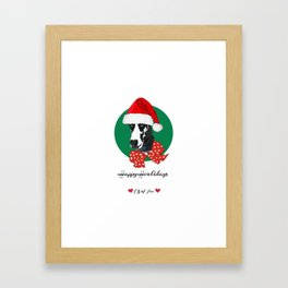 Happy Howlidays-I Wuf You Great Dane Framed Art Print