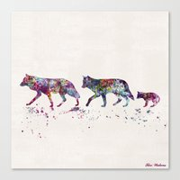 wolves Canvas Prints featuring Wolves by Watercolorist
