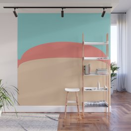 Teal, Peach and Coral Wall Mural