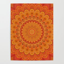 Orange Fire Flower Mandala Poster