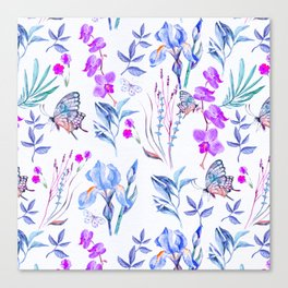 Modern purple blue watercolor hand painted orquid butterfly Canvas Print