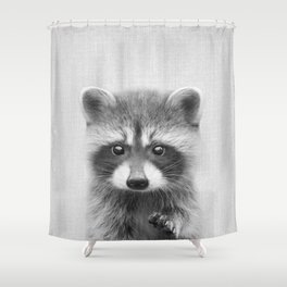 Raccoon - Black & White Shower Curtain
