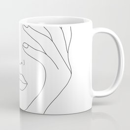Minimal Line Art Woman with Hands on Face Coffee Mug